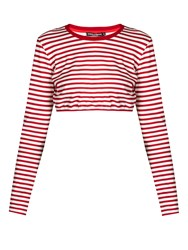 Dolce And Gabbana Striped Cotton Jersey Cropped Top Red Stripe