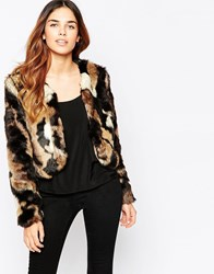 Traffic People Bolero Faux Fur Jacket In Mixed Fur Mixedcolour