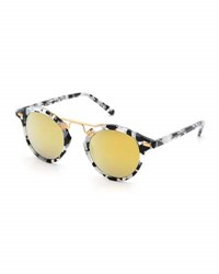 Krewe St. Louis Round Mirrored Sunglasses White Tortoise Multi