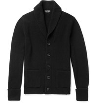 Tom Ford Steve Mcqueen Shawl Collar Ribbed Cashmere Cardigan Black