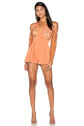 Keepsake The Moment Lace Romper Orange