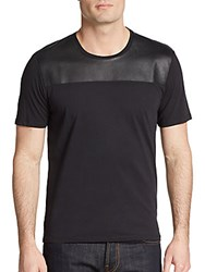 Sport The Kooples Leather Yoke Cotton Tee Black