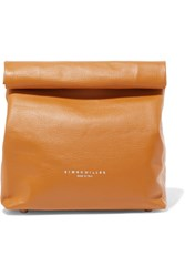 Simon Miller Lunchbag 20 Textured Leather Clutch Tan