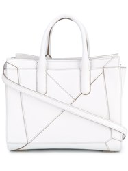 Max Mara Folded Detail Tote Women Calf Leather Cotton One Size White