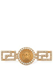 Versace Greek Motif Brooch W Crystals Gold