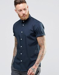 Asos Smart Shirt In Navy With Short Sleeves Navy