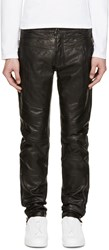 Diesel Black Gold Black Leather Biker Pants