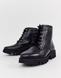 92ff3ee5a5e Chunky Leather Lace Up Ankle Boots Black