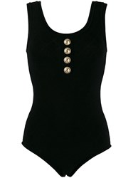 Balmain Button Embellished Bodysuit Black
