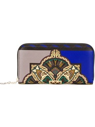 Etro Pattern Print Continental Wallet Blue