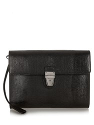 Dolce And Gabbana Reptile Effect Leather Document Holder Black