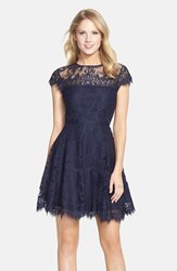 Women's Bb Dakota 'Rhianna' Illusion Yoke Lace Fit And Flare Dress Oilslick
