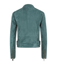 Reiss Grace Suede Biker Jacket Female Blue