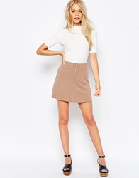 Asos A Line Skirt With Zip Through Latte