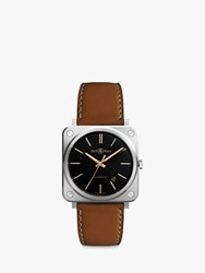 Bell And Ross Brs92 St G He Sca Unisex Golden Heritage Automatic Date Leather Strap Watch Tan Black