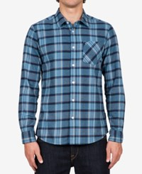Volcom Men's Long Sleeve Gaines Plaid Shirt Blue Fog