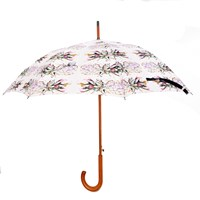 Jessica Russell Flint Pineapple Cliche Wooden Handle Umbrella Pink Purple