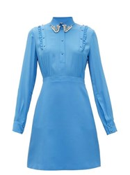 N 21 No. Crystal And Faux Pearl Embellished Mini Dress Blue