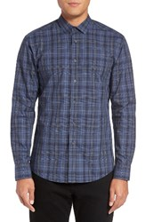 Vince Camuto Men's Trim Fit Print Sport Shirt Grey Navy Plaid