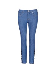 Alexander Mcqueen Lace Up Hem Cropped Kick Flare Jeans Blue