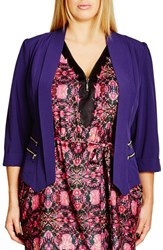 City Chic Plus Size Women's Double Zip Jacket Royalty