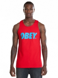 T Shirts Obey Font Basic Tank Top Red