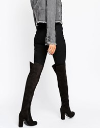 Daisy Street Black Heeled Over The Knee Boots Black