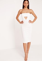 Missguided Crepe Cut Out Bandeau Midi Dress White White