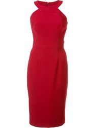 Black Halo Round Neck Fitted Dress Red