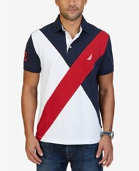 Nautica Men's Slim Fit Diagonal Colorblocked Polo Navy