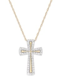 Macy's Diamond Cross Pendant Necklace 1 4 Ct. T.W. In 14K Gold Yellow Gold