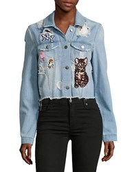 Design Lab Lord And Taylor Distressed Patch Accented Denim Jacket Light Wash