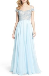 La Femme Women's Off The Shoulder Ballgown Powder Blue