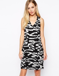 Whistles Crepe Dress In Graffiti Print Multi
