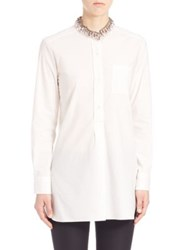 Marni Embellished Collar Cotton Shirt Night Blue White