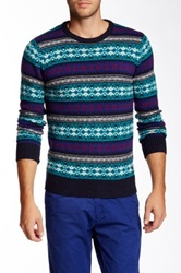 Scotch And Soda Printed Crew Neck Wool Blend Sweater Blue