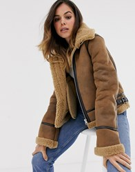 Moon River Faux Shearling Utility Bomber Jacket Brown