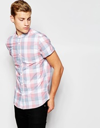 New Look Short Sleeve Shirt In Buffalo Check With Grandad Neckline Blue