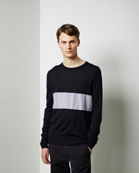 Band Of Outsiders Woven Panel Crewneck Navy