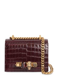 Alexander Mcqueen Sm Jeweled Satchel Croc Embossed Bag Velvet Red