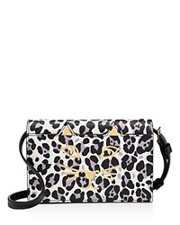 Charlotte Olympia Feline Leopard Print Crossbody Black And White Leopard Gold