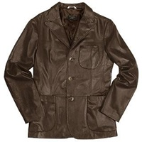 Forzieri Men's Brown Italian Genuine Leather Blazer