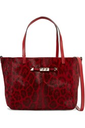 Valentino Studded Leopard Print Calf Hair Effect Leather Tote Claret