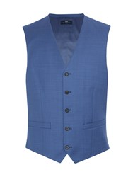 Paul Costelloe Chiltern Sharkskin Wool Suit Waistcoat Blue
