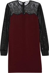 Sandro Roots Lace Paneled Crepe And Tulle Mini Dress Burgundy