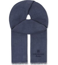 Corneliani Colour Block Herringbone Cashmere Scarf Blue