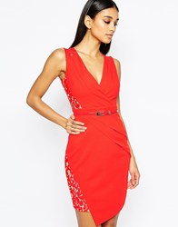 Lipsy Lace Cap Sleeve Belt Pencil Dress With Wrap Skirt Red