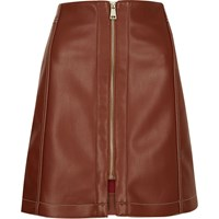 River Island Womens Rust Brown Leather Look Skirt