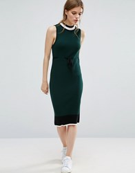 Asos Knit Midi Dress With Stripe Detail And Tie Waist Green
