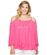 Vince Camuto Specialty Size Plus Long Sleeve Cold Shoulder Blouse Electric Pink Women's Blouse